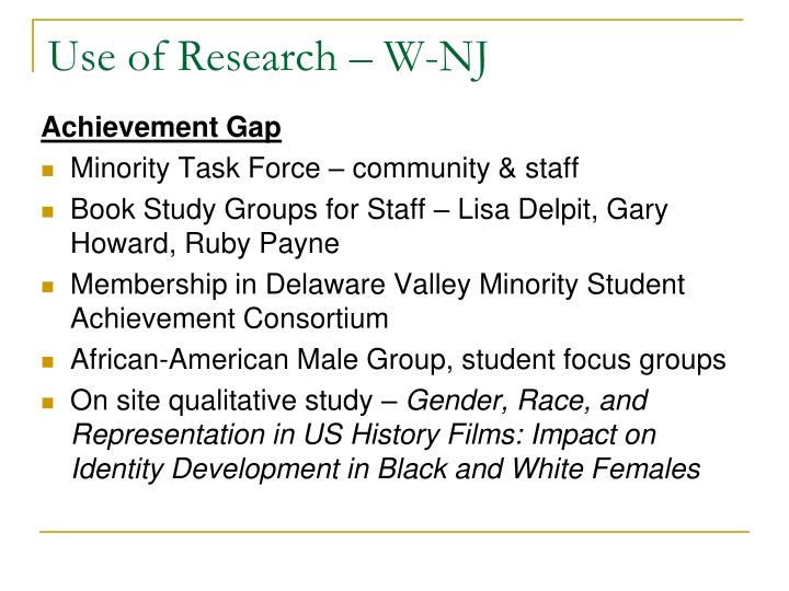 Use of Research – W-NJ