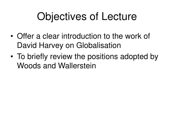 Objectives of Lecture