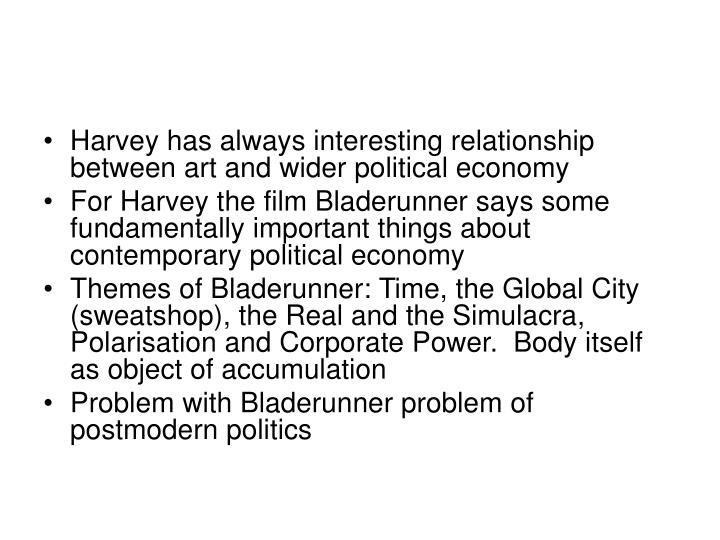 Harvey has always interesting relationship between art and wider political economy