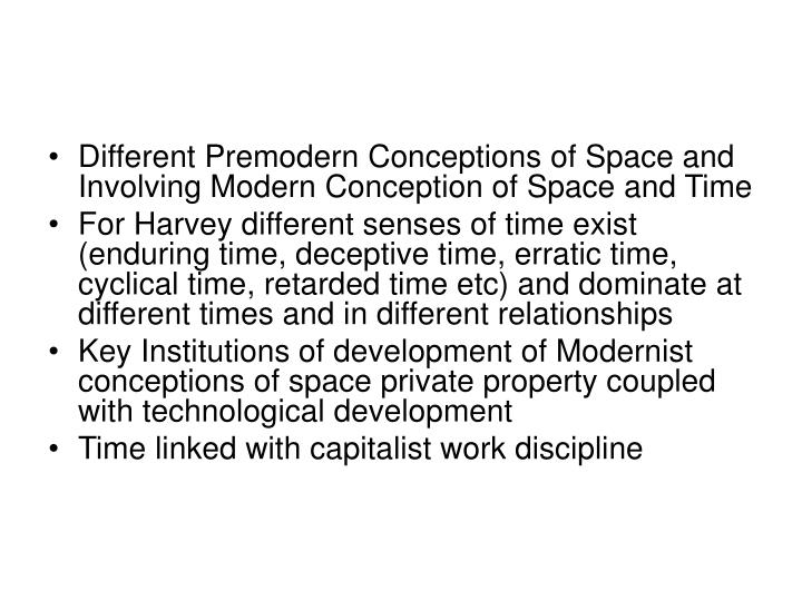 Different Premodern Conceptions of Space and Involving Modern Conception of Space and Time