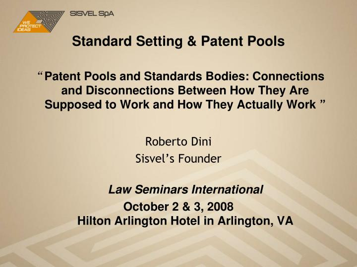 Standard setting patent pools