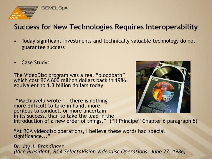 Success for New Technologies Requires Interoperability