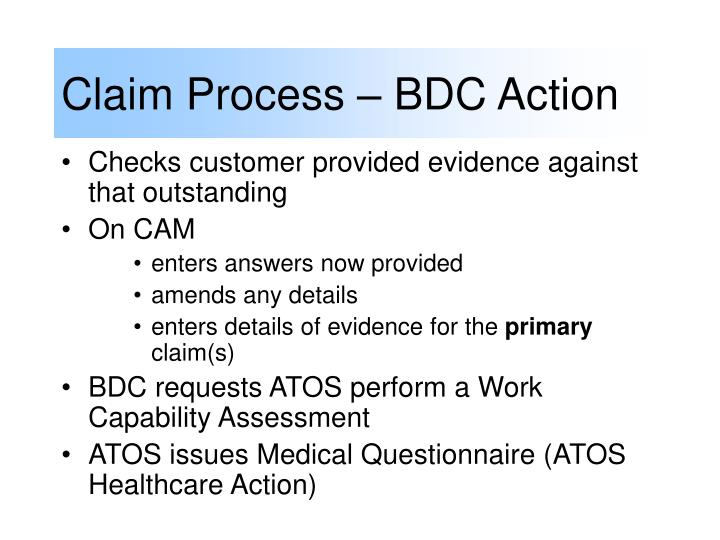 Claim Process – BDC Action