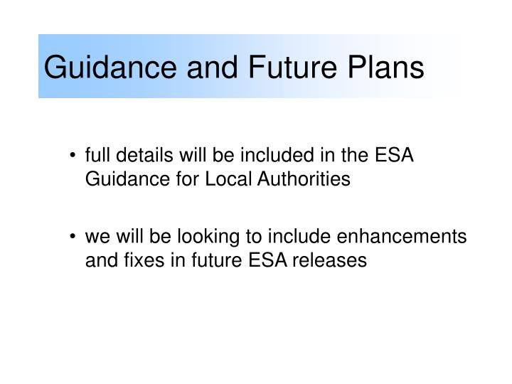 Guidance and Future Plans