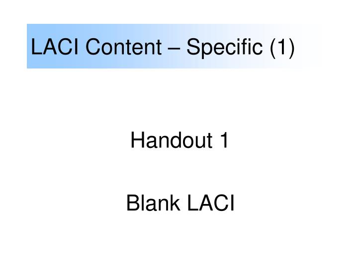 LACI Content – Specific (1)