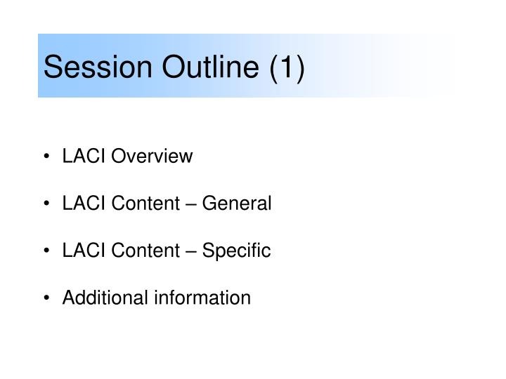 Session Outline (1)