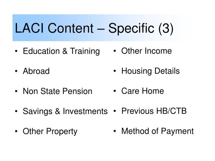 LACI Content – Specific (3)