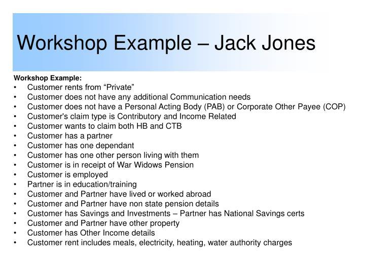 Workshop Example – Jack Jones