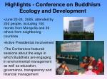 highlights conference on buddhism ecology and development