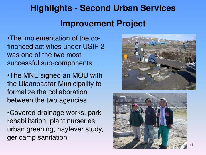 Highlights - Second Urban Services Improvement Project