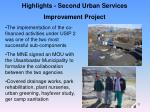 highlights second urban services improvement project
