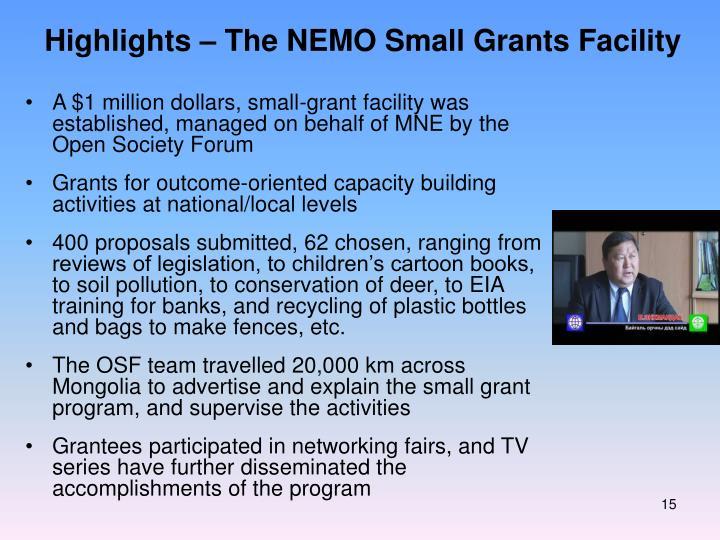 Highlights – The NEMO Small Grants Facility