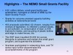 highlights the nemo small grants facility