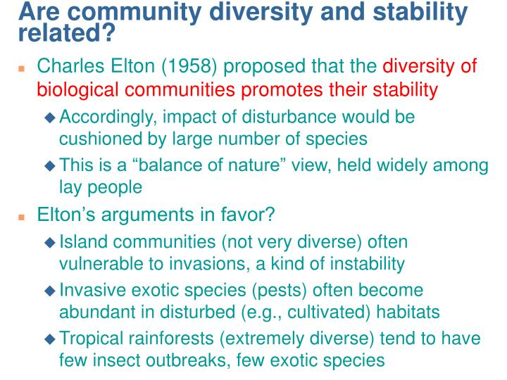 Are community diversity and stability related?