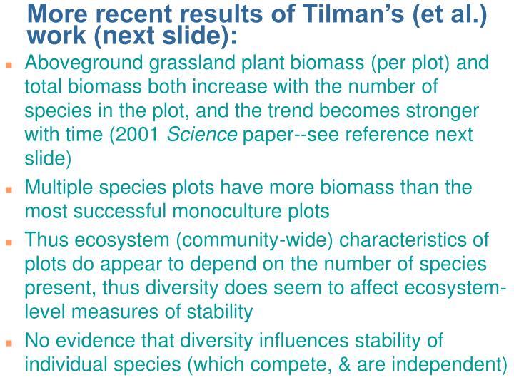 More recent results of Tilman's (et al.) work (next slide):