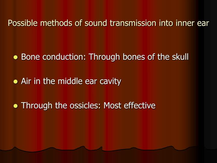 Possible methods of sound transmission into inner ear