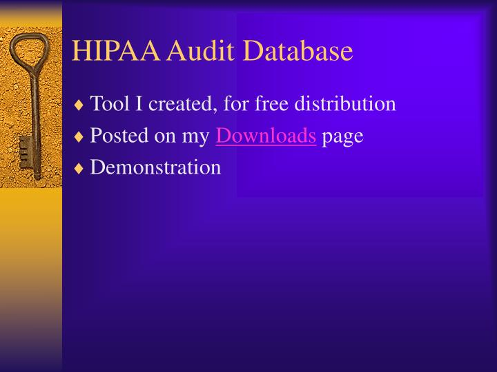 HIPAA Audit Database