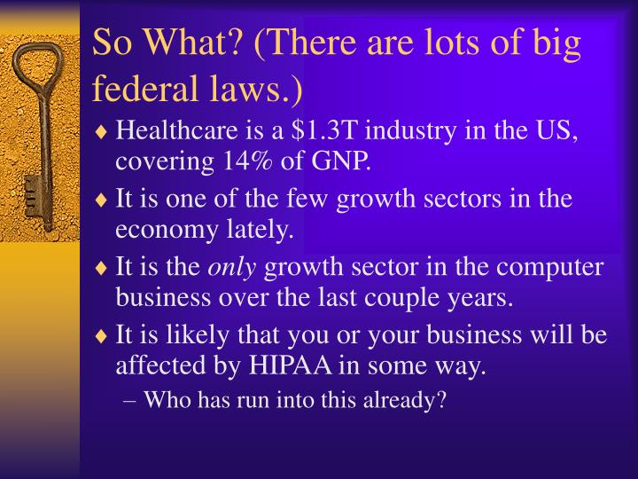 So What? (There are lots of big federal laws.)