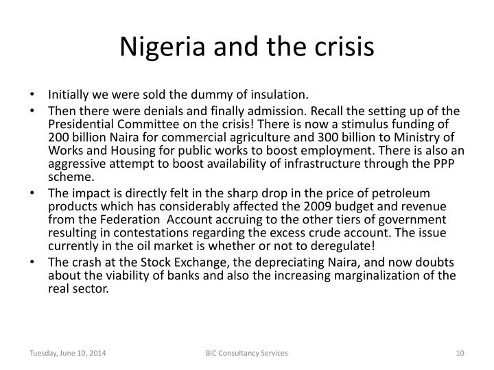 Nigeria and the crisis