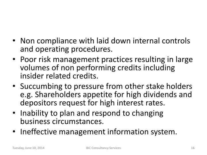 Non compliance with laid down internal controls and operating procedures.