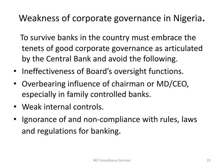 Weakness of corporate governance in Nigeria