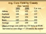 avg corn yield by county bu acre