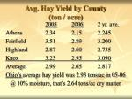 avg hay yield by county ton acre