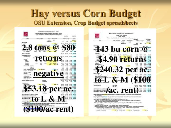 Hay versus Corn Budget