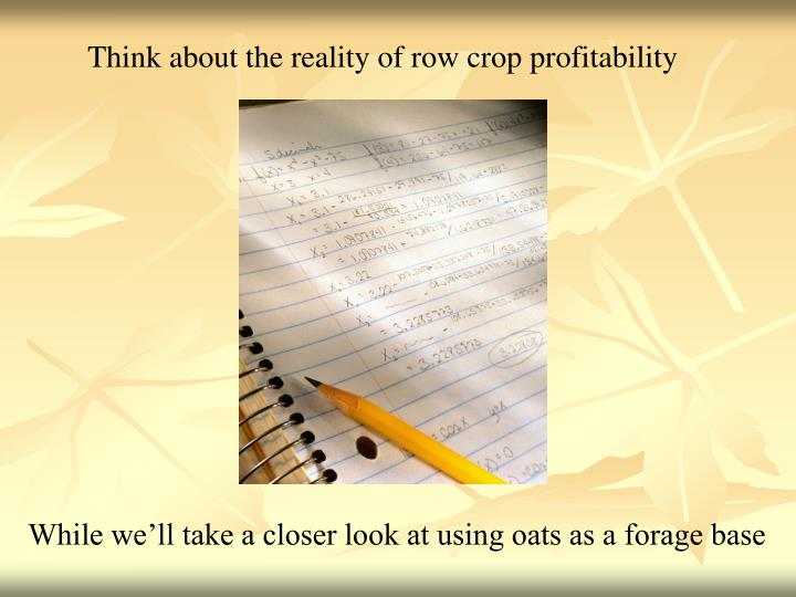 Think about the reality of row crop profitability