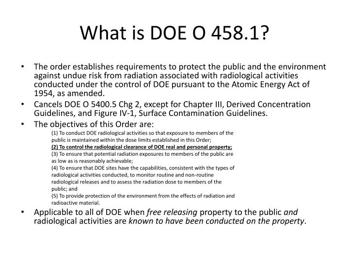 What is doe o 458 1