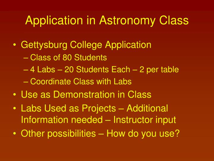 Application in Astronomy Class