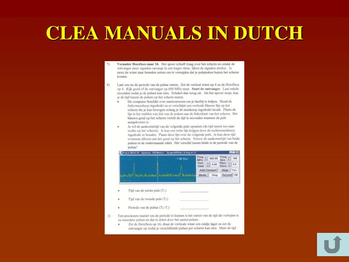 CLEA MANUALS IN DUTCH