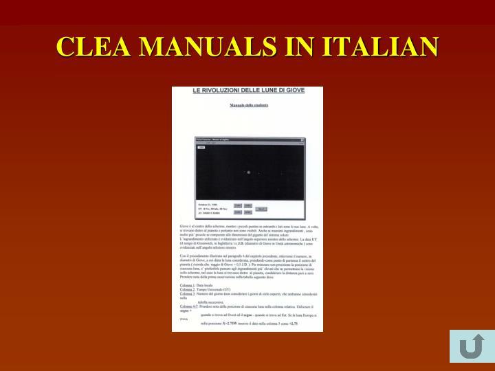 CLEA MANUALS IN ITALIAN