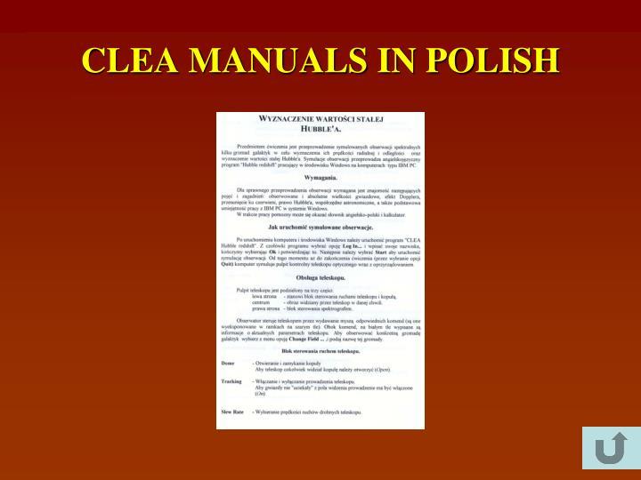 CLEA MANUALS IN POLISH