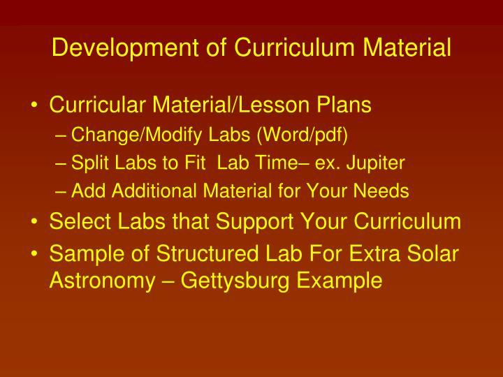 Development of Curriculum Material
