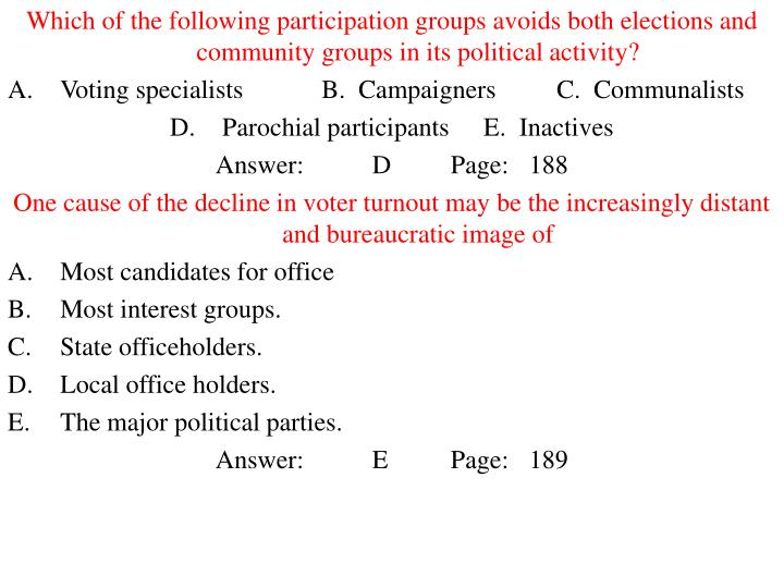 Which of the following participation groups avoids both elections and community groups in its political activity?