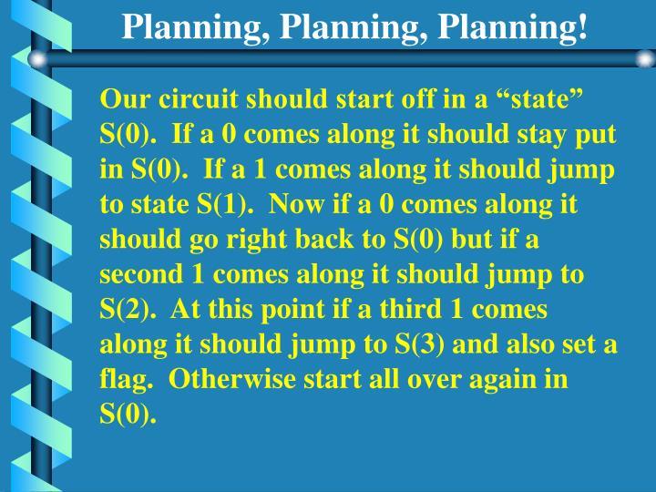 Planning, Planning, Planning!