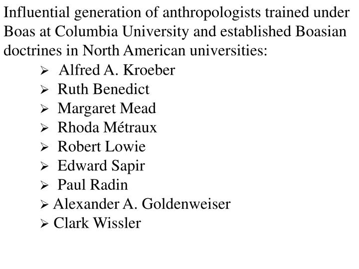 Influential generation of anthropologists trained under Boas at Columbia University and established Boasian doctrines in North American universities: