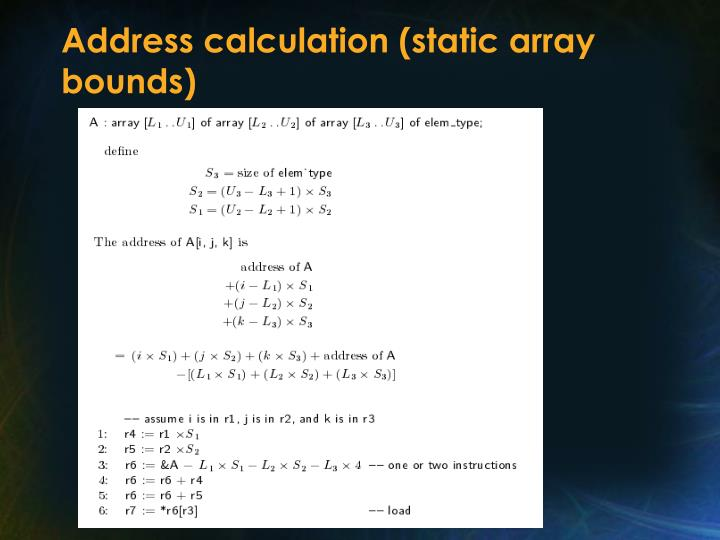 Address calculation (static array bounds)