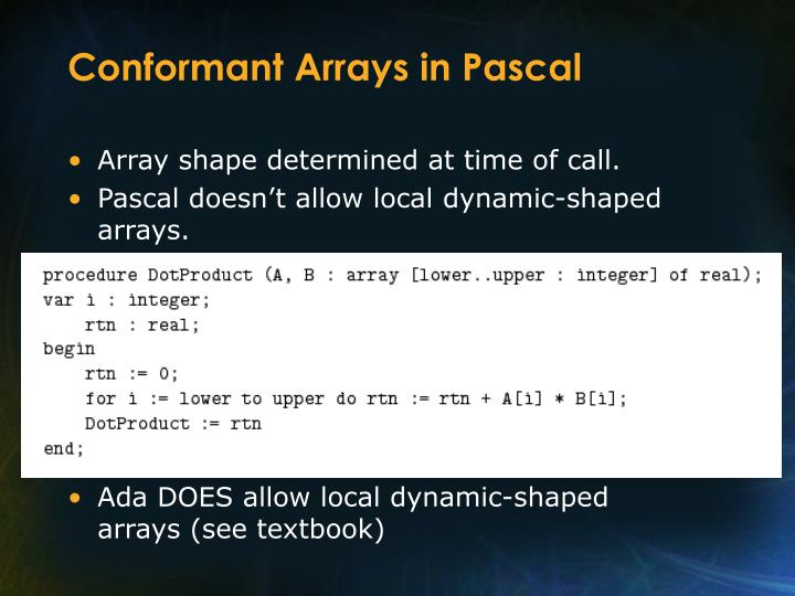 Conformant Arrays in Pascal