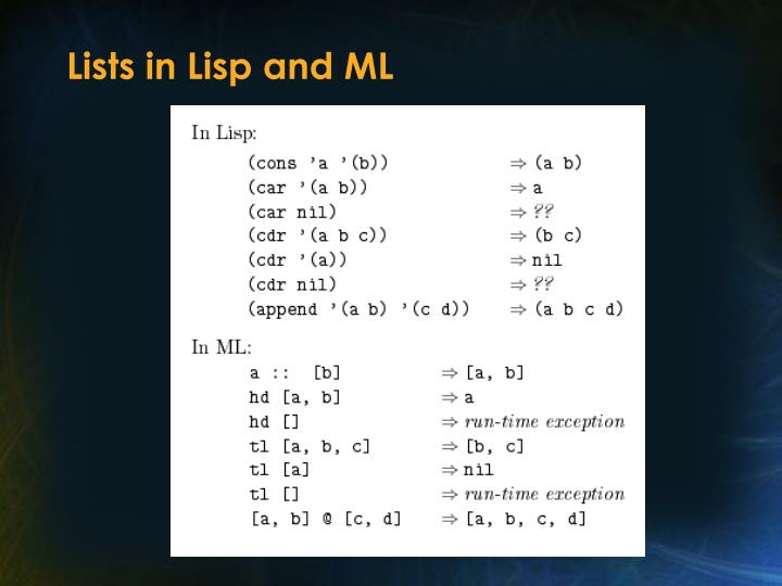 Lists in Lisp and ML