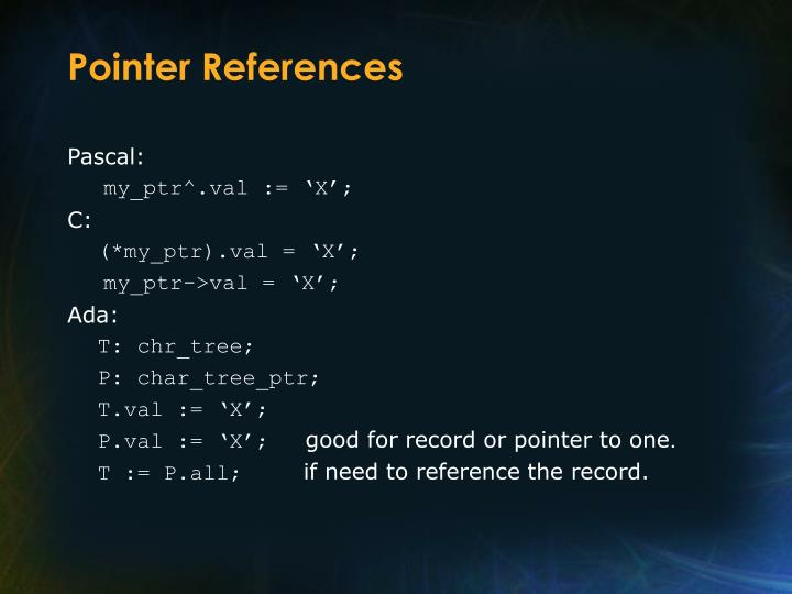 Pointer References