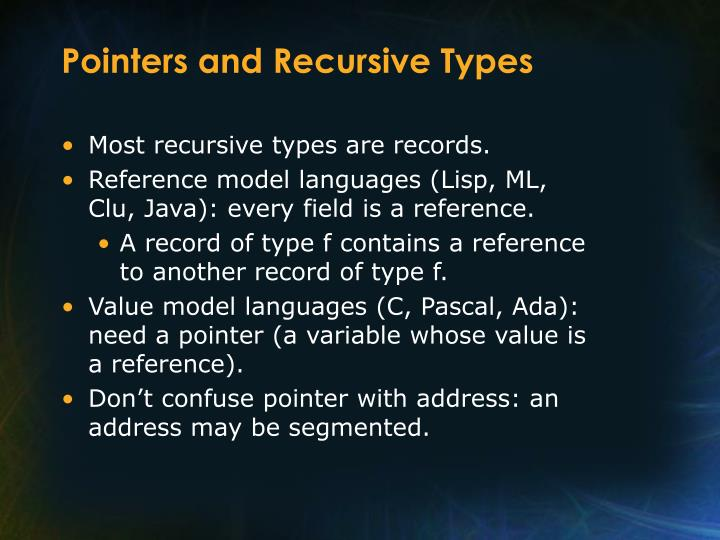 Pointers and Recursive Types
