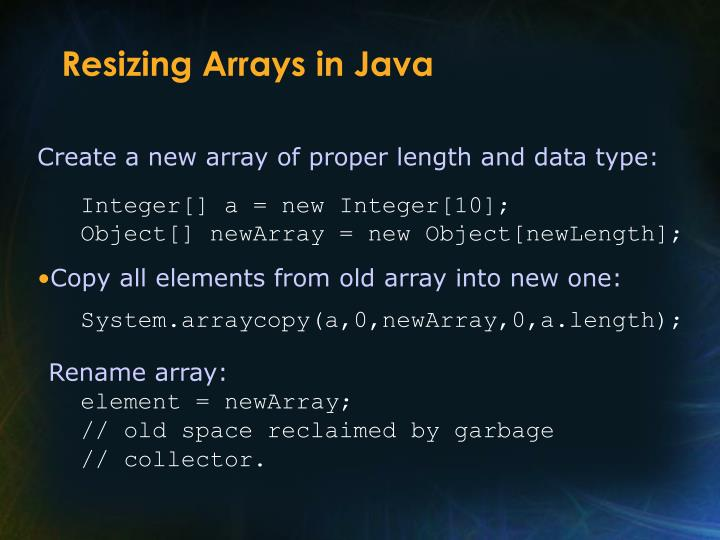 Resizing Arrays in Java