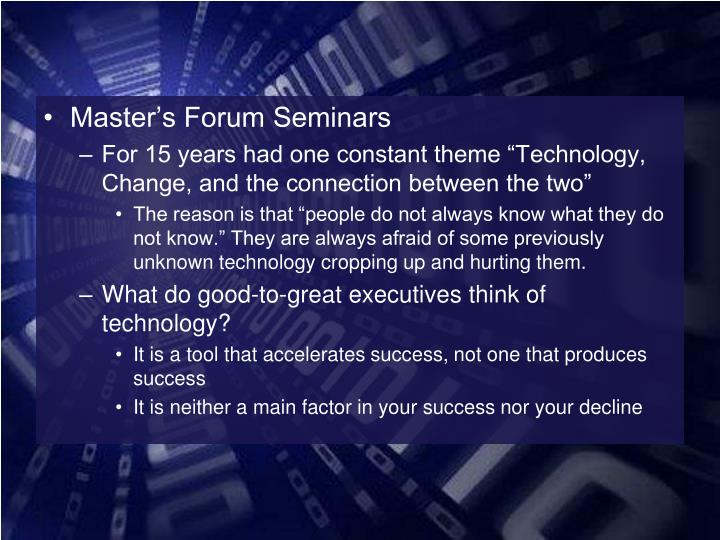 Master's Forum Seminars