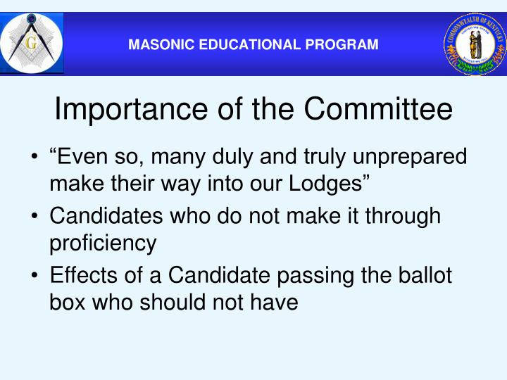 Importance of the Committee
