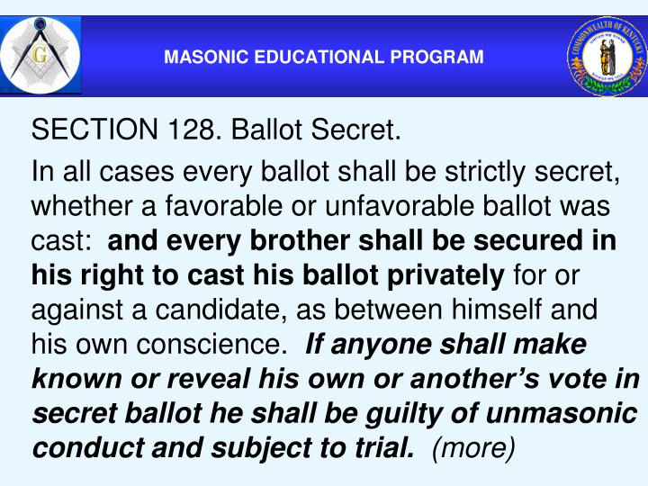 SECTION 128. Ballot Secret.