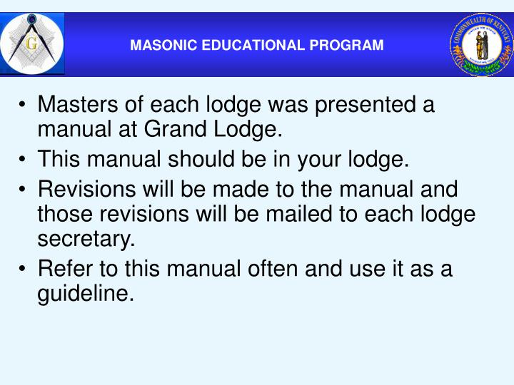 Masters of each lodge was presented a manual at Grand Lodge.