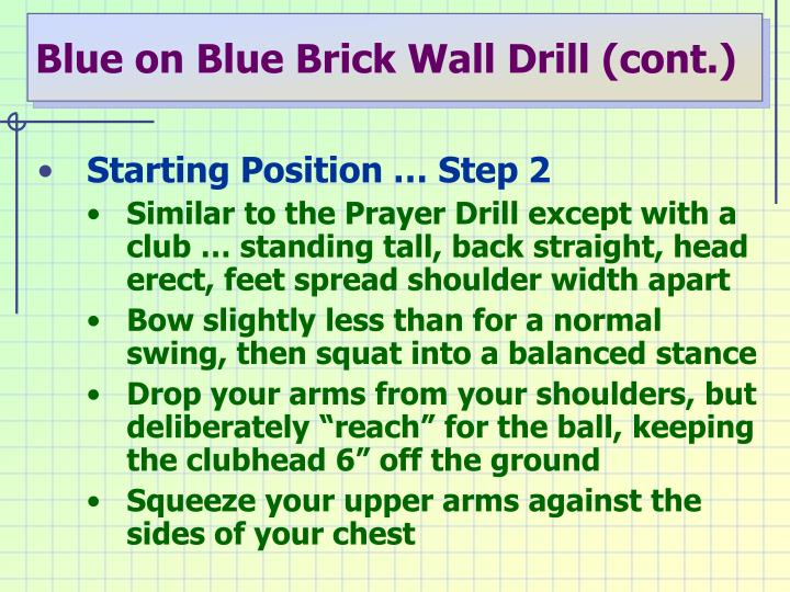 Blue on Blue Brick Wall Drill (cont.)