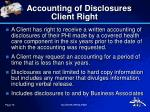 accounting of disclosures client right